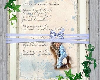Decorazioni cameretta, Regalo neonato, Carta digitale, Quadri per cameretta, Nanna per neonati, Stampe Murali, idee regalo battesimo, Poster