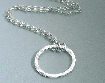 Simple Circle - Sterling and Fine Silver Necklace