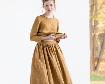 """Linen skirt """"1950s CITY"""" with deep pockets / A - line washed linen skirt / Midi linen skirt / High waist  linen skirt in amber yellow"""