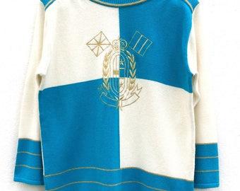 Vintage Elegance Knitwear Oceanic Blue Shoulder Padding Longsleeve