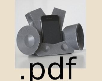 Boombox Smartphone Stand PDF - DIY Template