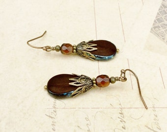 Brown Earrings, Chocolate Brown Earrings, Smoky Topaz Earrings, Czech Glass Beads, Victorian Earrings, Vintage Look Earrings, Gifts for Her