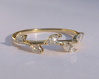 Leaf Ring 14k or 18k Gold and Marquise Diamonds ~ Yellow, Rose or White Gold Available
