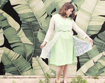 Vintage 1950's Light Green Dress With Lace Overlay