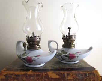 Pair Of Vintage Porcelain Miniature Oil Kerosene Lamps Lanterns Moss Rose  Pattern