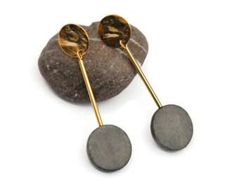 Modern Stick Earrings, Geometric earrings, Long Stick gold earrings, Clip on Dangle Earrings, Statement earrings, Bar Earring, holiday gift