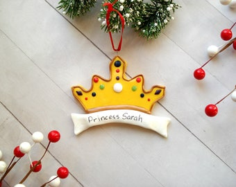 Princess Ornament Crown Christmas Ornament Gag Gift Ideas Polymer Clay Christmas Ornaments