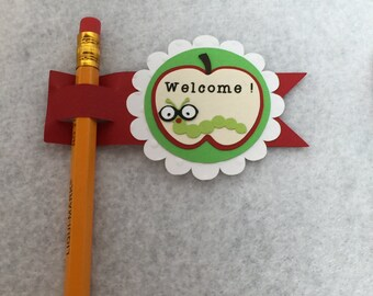 Apple Worm Teacher Pencil Tags with Pencil Set of 12