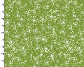 Green Flowers and Birds Quilt Cotton Fabric Jenean Morrison Summer Skies Floral Birds in Green for 3 Wishes Fabric