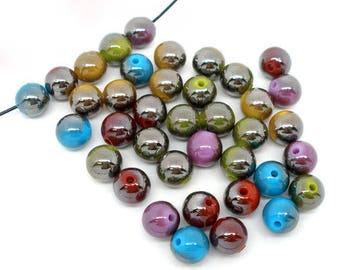 10 pearls two-tone 10 mm acrylic (random color set)