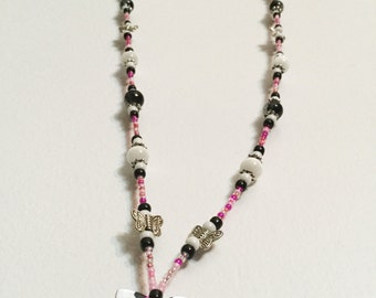 Pink and Black Animal Print Butterfly Handmade Beaded Lanyard, Name Badge, ID Holder, Magnetic Clasp
