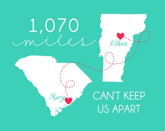 Long Distance Relationship Maps, Gift for Boyfriend Personalized Art Print with Maps and Mileage - Mileage Apart, Military Deployment, KM