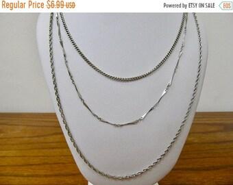 ON SALE Vintage Triple Strand Chain Necklace Item K # 2082