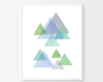 Abstract watercolor, Triangles art, Geometric art, Geometric print, Triangles watercolor, Green Blue Watercolor, Mountains print, Minimalist