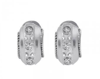 0.30 Carat Round Brilliant Cut Diamond Hoop Earrings 14K White Gold