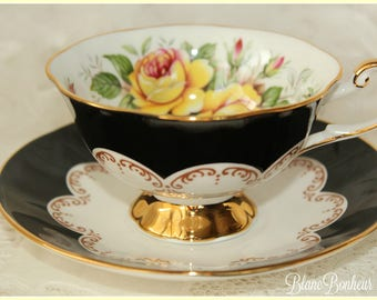 Queen's, England: ''Ebony'' black tea cup & saucer with large yellow roses