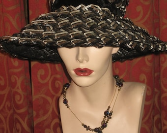1960's, size 22, black, gray, and white straw pillbox  hat