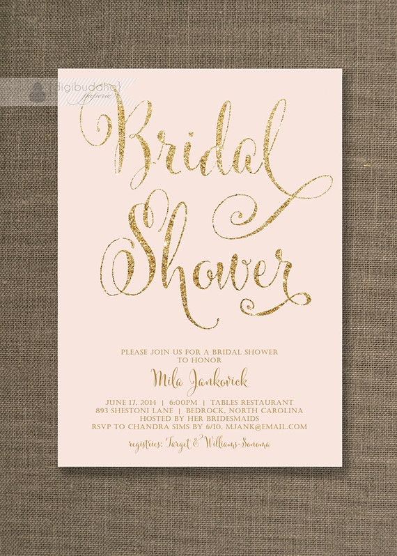 Blush pink gold bridal shower invitation glitter pastel blush pink gold bridal shower invitation glitter pastel wedding hens party script modern free priority shipping or diy printable mila solutioingenieria Image collections