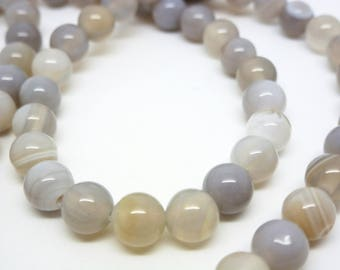 8 agate beads round 6mm gray (8SPA09)