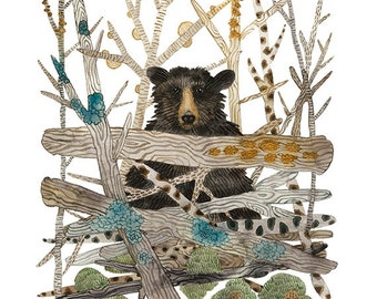 Black Bear Print, animal print, forest animals, bear illustration, giclee art print, watercolor print, woodland art