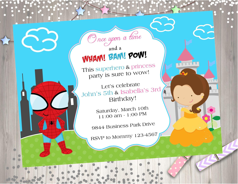 Superhero Princess Birthday Invitation Invite Sibling