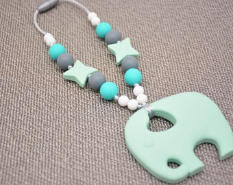 Silicone Teething Toy / Mint Elephant / Baby carrier Accessory, Tula/ Ergo/ Kinderpack/ Beco/ Boba