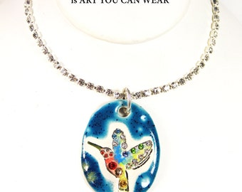 Hummingbird Sparkle Surly Necklace with Swarovski Crystals