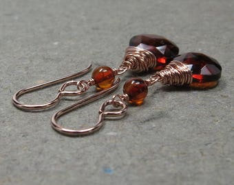 Hessonite Garnet Earrings Amber January Birthstone Rose Gold Earrings Gift for Wife