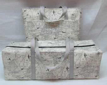 Cricut Explore Air Carry Case /Silhouette Cameo 3 / Cricut Maker Carrying Case /Accessory Bag /  Vintage World Map Duck Cloth Fabric