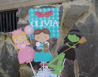 Wizard Of Oz Centerpiece/ Cake topper/ Dorthy/ Wicked Witch/ Glenda/ Age/ Personalized party decor/ Customized Party/
