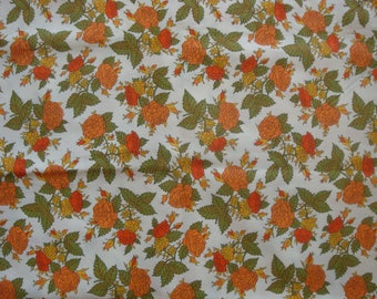 Vintage 1960s Floral Cotton Print Fabric, Orange & Coral Roses, Two Yards