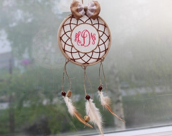 Dream catcher, personalised dreamcatcher,car mirror hanger,housewarming gift, baby room decor,wall hanging,natural, wood beads,3 1/2""