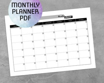 Monthly Planner Printable PDF, Printable Monthly Planner 2017 Template, Planner Pages, A4, A5, Letter, Half-size