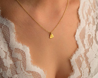 Solid Gold Heart Necklace Initial Necklace Dainty 14k solid Gift for Her Bridal necklace dainty personalized gift Christmas gift