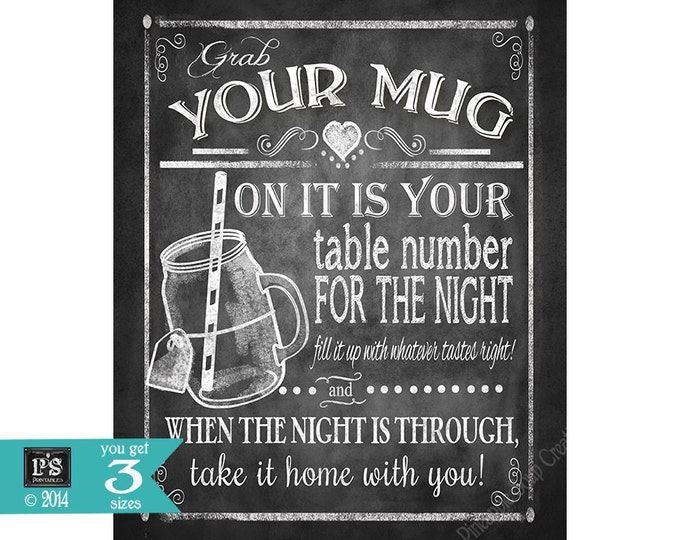 Grab a Mug- wedding favor sign - 5x7,8x10,11x14, 16x20 - instant download digital file - Rustic Chalkboard Collection