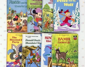 Vintage Walt Disney Books Lot of 8 | Disney's Wonderful World of Reading Book Series | Vintage Disney Books Collection | Disney Book Lot