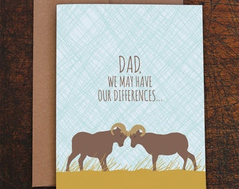 funny father's day card / funny birthday card for dad / rams differences