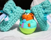 Turquoise Baby Booties - Crochet Preemie Booties - Booties with Ribbon
