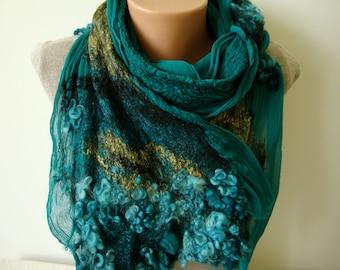 Green wool felted silk scarf Woman wool silk scarf Nuno felt shawl Spring scarf Nuno felt clothing Spring fashion Felt scarf handmade