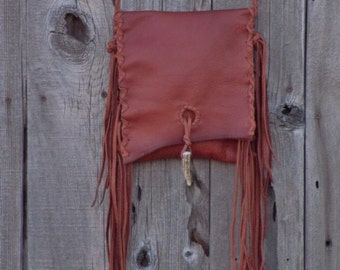 Handmade fringed leather handbag , Crossbody purse with fringe , Boho gypsy bag , Hippie handbags , Leather purse