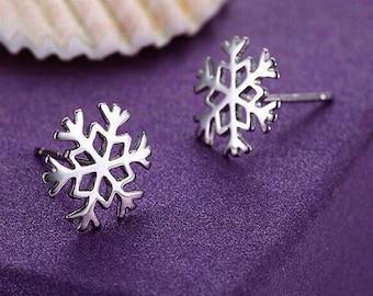 Snowflake Pure 925 Sterling Silver Stud Earrings