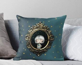 Kissenbezug Little Dreamer - Kissen Kissenhülle Throw Pillow Dekokissen Illustration Big eyed Girl