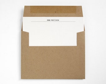 POST - Typewriter Letterpress Stationery Set - Custom Modern Design - Kraft Paper - Editor