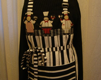 ARTI Kitchen Towel APRON ,  Black and white with 3 CHEFS
