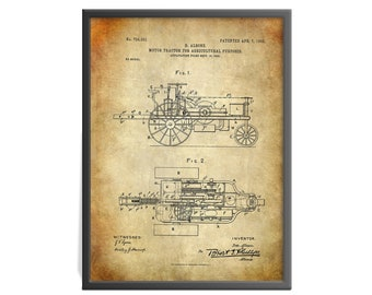 Motor-Tractor for Agricultural Purposes Patent Art Print - Albone Farm Tractor Patent Print - Farming Patent Art Print