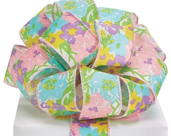 "By the yard~Wired Ribbon-1.5"" Bright Floral Print~Use for Wreaths~Wedding~Arrangement-Scrap-booking~Burton and Burton~Any Season ribbon"