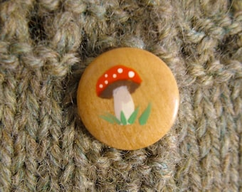 Hand painted wooden toadstool buttons, set of two