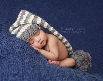 Newborn Elf Hat, Newborn Girl Hat, Newborn Photo Prop, Crochet Baby Hat, Baby Boy Hat, Mr Sandman Hat, Newborn Pom Pom Hat, Long Tail Hat