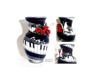 Hand Painted Piano/Music Staff/Lyrics Vase With 3-D Sculpted Clay Roses & Butterfly  -Cynthia's Exclusive Design!  -Customizing Welcome!