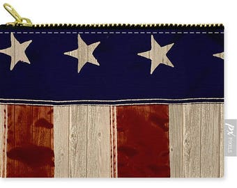 American Flag Handbag,Rustic Carry All Pouch,Small,Medium,Large,Red White Blue Purse,Patriotic, Zipper Pouch,Makeup Bag,Cosmetic Bag